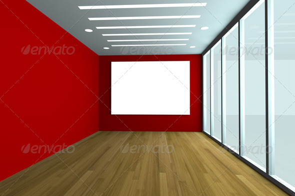 empty office room with red wall and wood floor - Stock Photo - Images