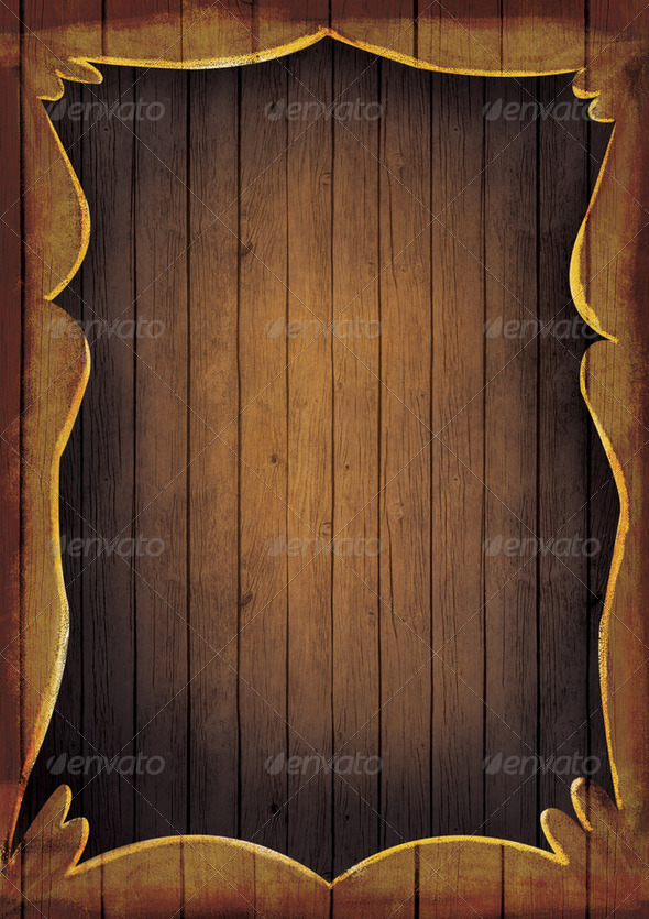 Wooden illustrated frame - Stock Photo - Images