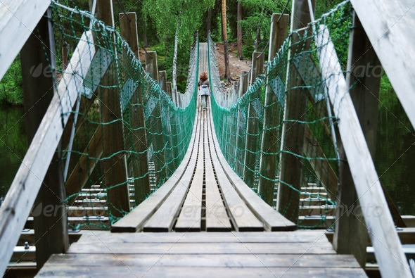 Pendant bridge of the Little Bear's Ring, Juuma, Finland - Stock Photo - Images