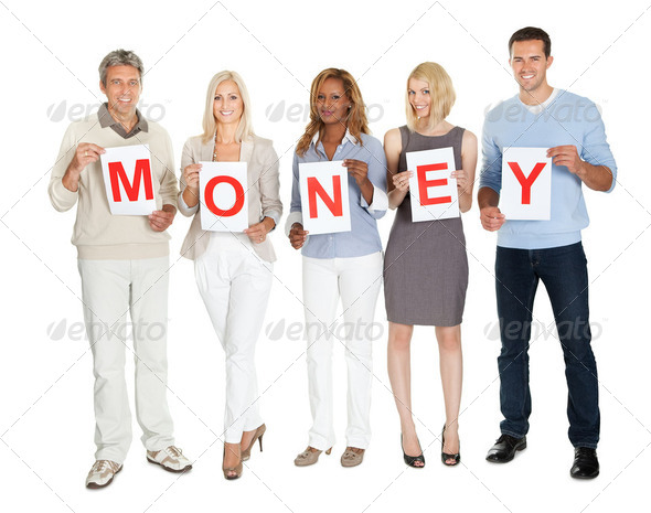 Casual group holding money sign board on white - Stock Photo - Images