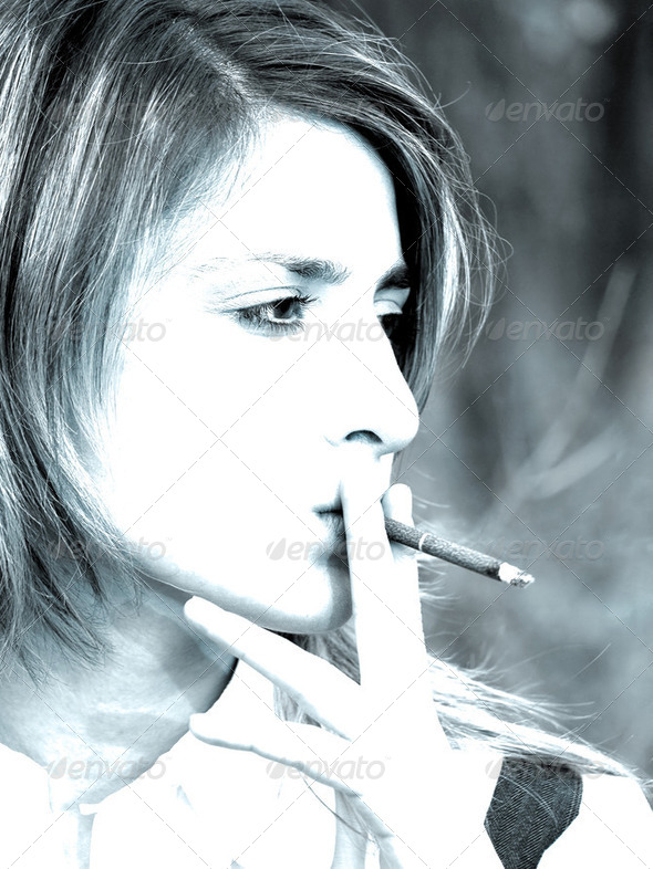 smoking girl - Stock Photo - Images