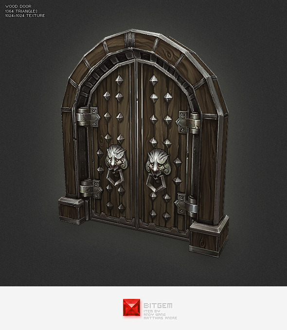 Low Poly Wood Door - 3DOcean Item for Sale
