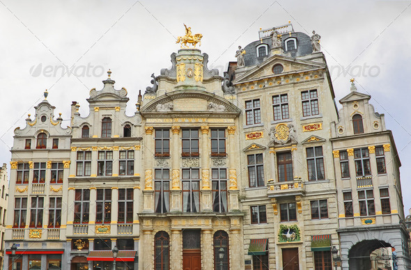 Brussels grand place building, Belgium  . Golden Sculpture - Stock Photo - Images