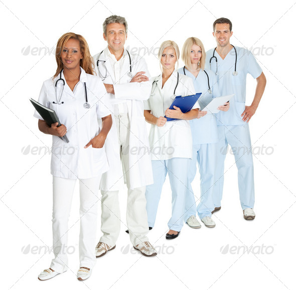 Group of doctors and surgeons isolated on white - Stock Photo - Images