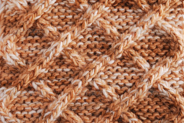 Close-up of knitted cloth with geometrical pattern - Stock Photo - Images