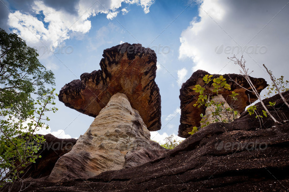 Mushroom Stone and Blue Skies - Stock Photo - Images