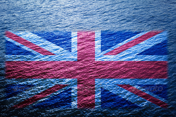 Blue Wide Water Floating UK Map - Stock Photo - Images