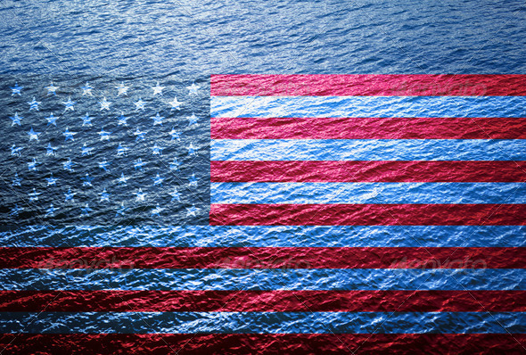 Blue Wide Water Floating US Flag - Stock Photo - Images