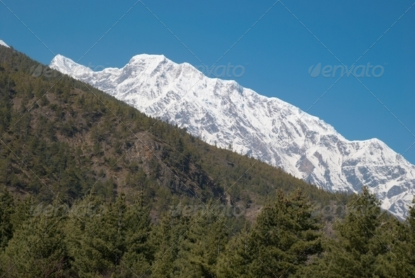 Snowy Tibetan mountains - Stock Photo - Images