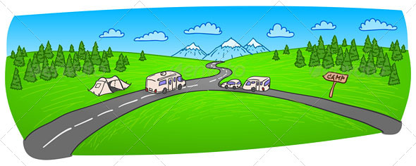 GraphicRiver Towing Caravan on the Road 3342426