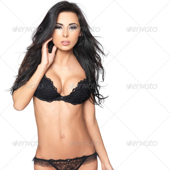 Sexy in Black Lingerie - Stock Photo - Images