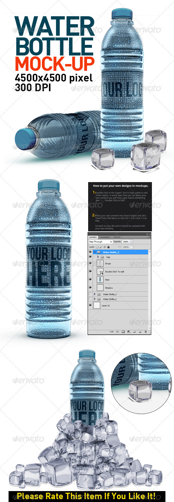 Water Bottles Mock Up