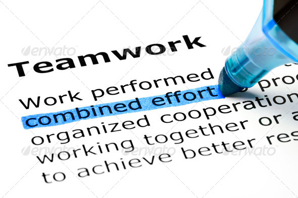 Teamwork highlighted in blue - Stock Photo - Images