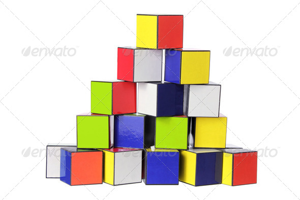 Stack of Color Cubes - Stock Photo - Images