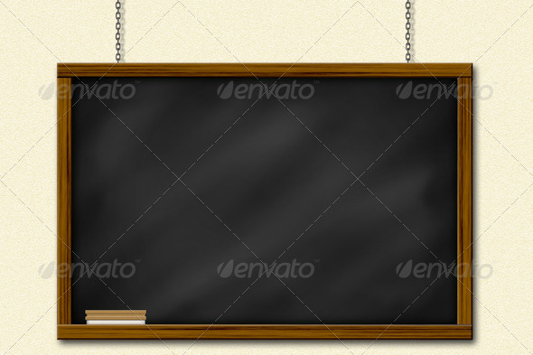 Chalkboard blackboard with frame and brush hang on yellow wall by chain - Stock Photo - Images