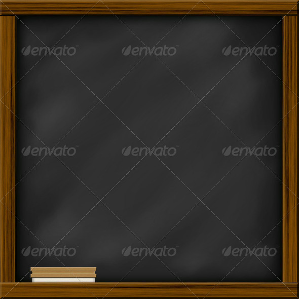 Chalkboard blackboard with square frame and brush - Stock Photo - Images