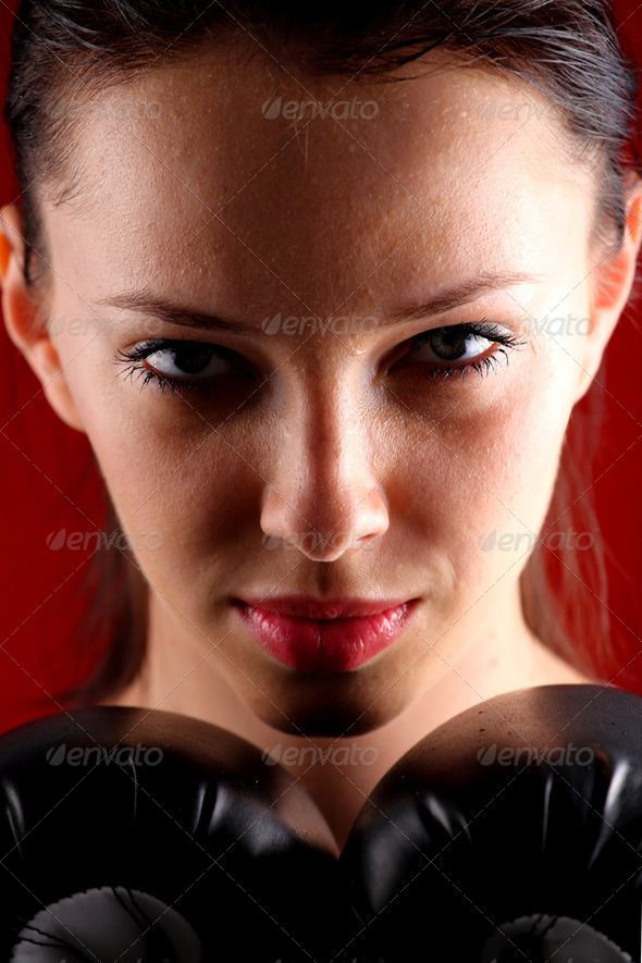 Young woman boxing - Stock Photo - Images
