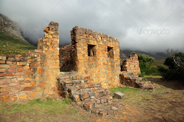 Ruins of building in mist - Stock Photo - Images