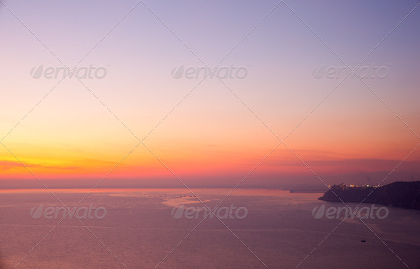 Sunset, Trieste sea - Stock Photo - Images