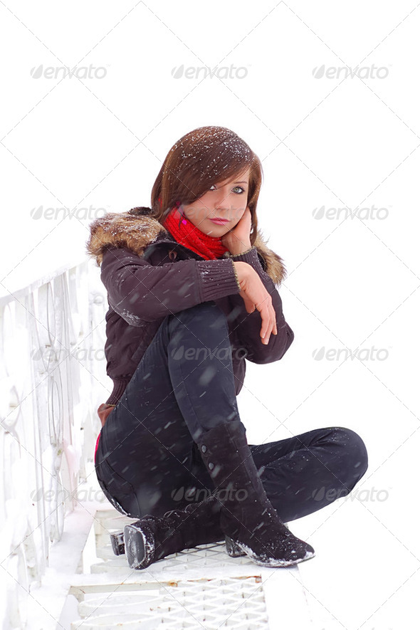 Sitting woman on white background - Stock Photo - Images