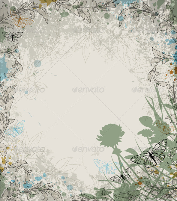 GraphicRiver Retro Floral Background 3343000