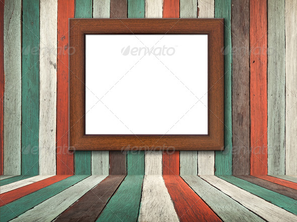 Picture frame on Old wood wall and floor - Stock Photo - Images