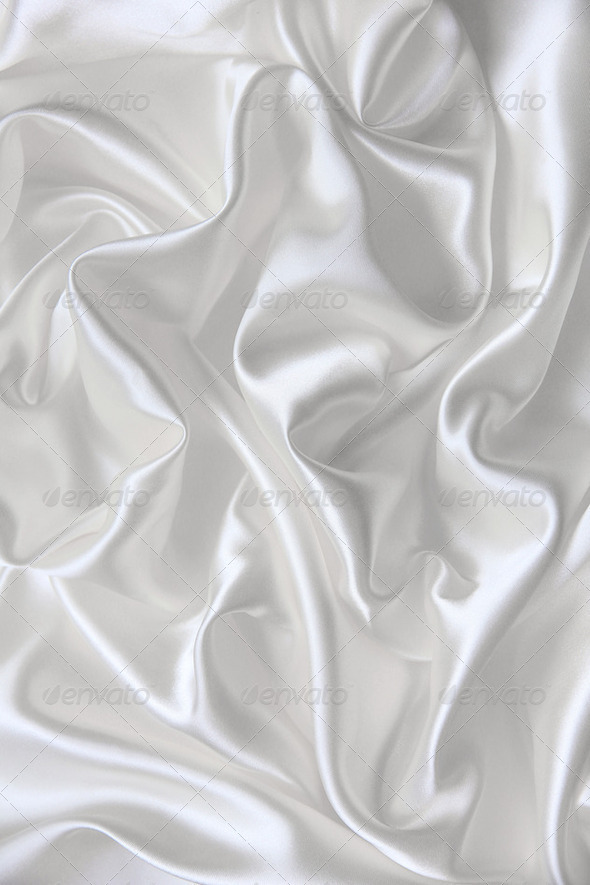 Smooth elegant white silk can use as wedding background - Stock Photo - Images