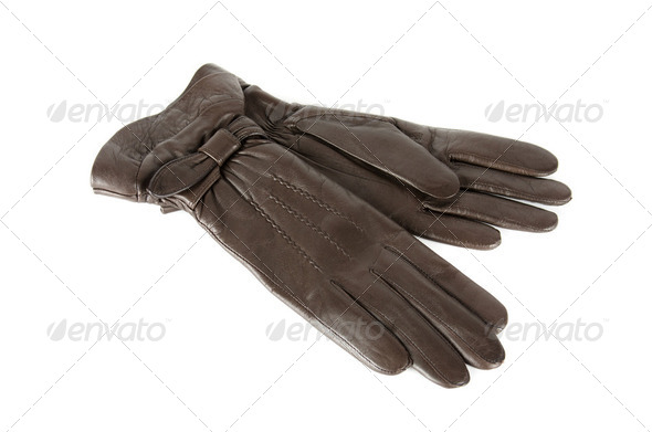 brown female leather gloves - Stock Photo - Images