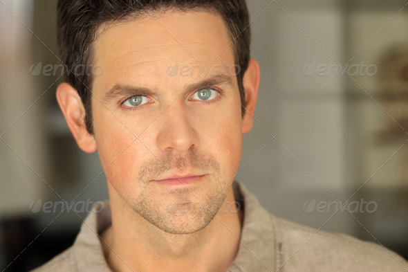 Man face up close - Stock Photo - Images