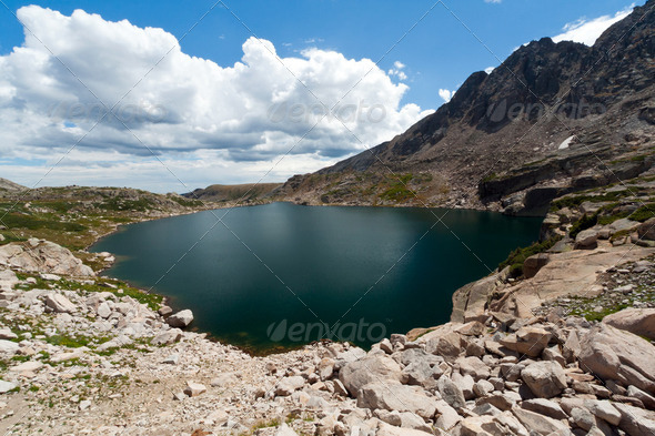 Alpine Lake in the Colorado Rocky Mountains - Stock Photo - Images