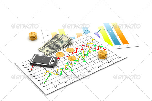 Financial graph with money - Stock Photo - Images