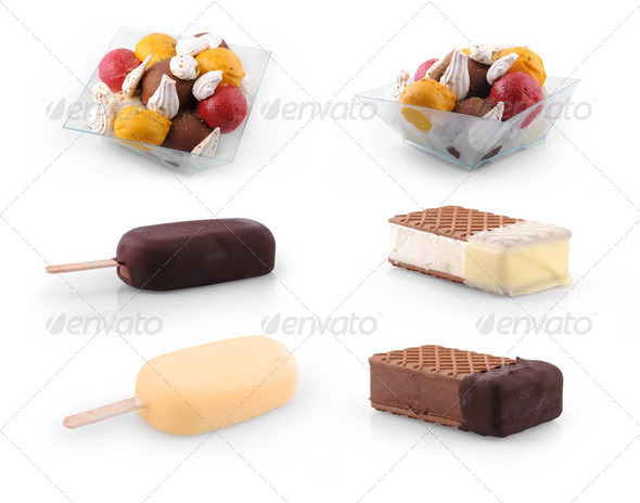 Set of Ice cream scoops , stick & biscuit isolated on white  - Stock Photo - Images