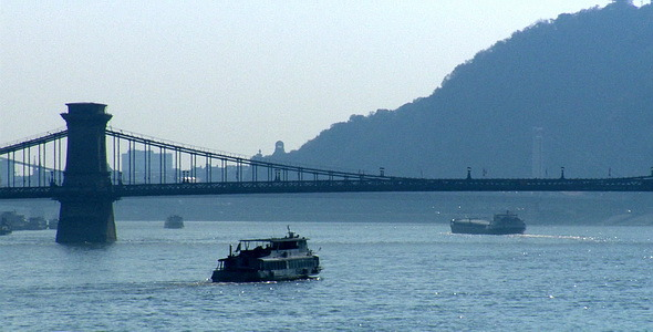 Ship On The Danube River Chain Bridge Budapest