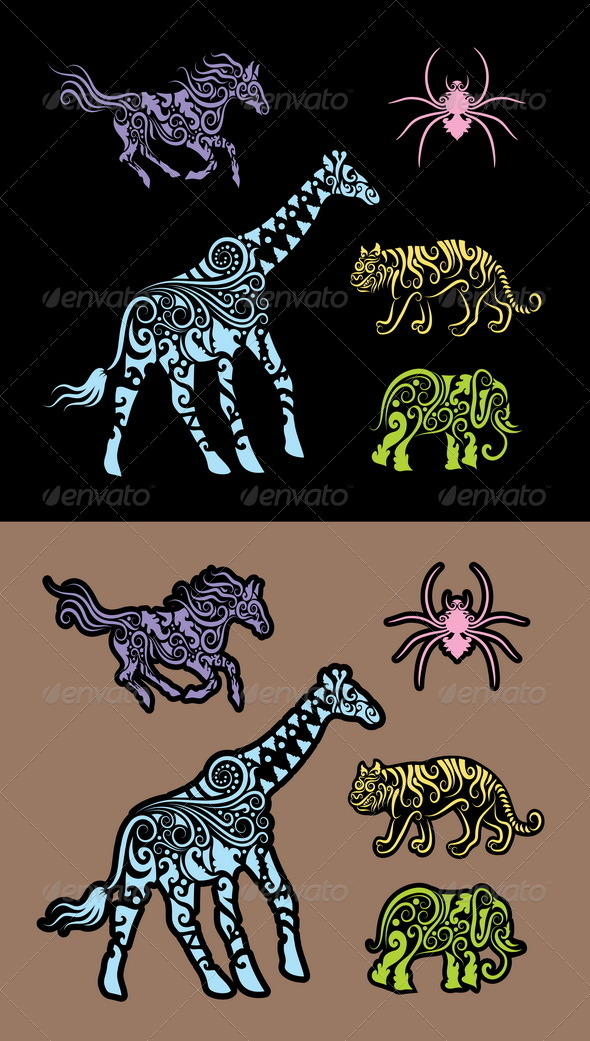 Animal ornament cutting sticker 1 - Animals Characters