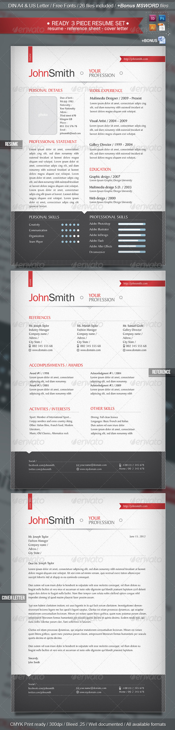 GraphicRiver Ready 3-Piece Resume CV Set 2461358