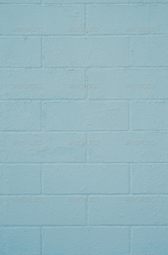 Brick wall painted with a blue paint - Stock Photo - Images