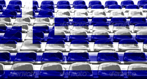Greece Flag Pattern on Seat - Stock Photo - Images
