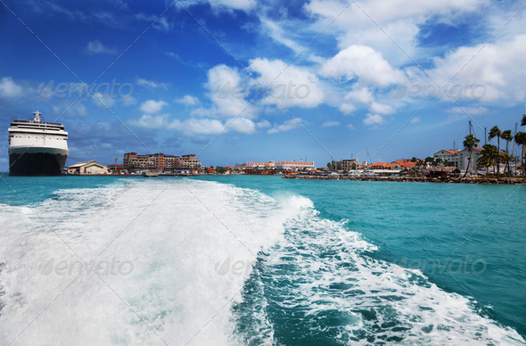 Oranjestad harbor, Aruba - Stock Photo - Images