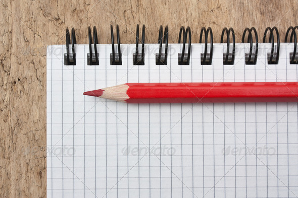 red pencils and notebook - Stock Photo - Images