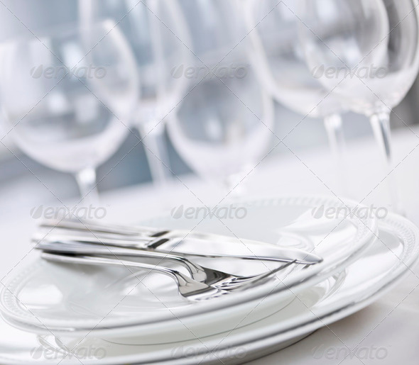 Plates and cutlery - Stock Photo - Images