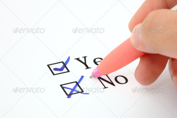 Check boxes and hand with pen - Stock Photo - Images