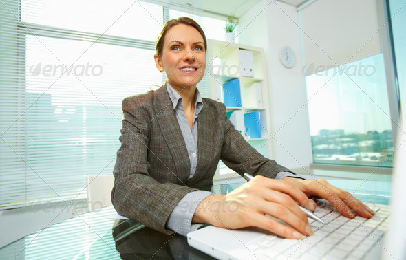 Woman typing - Stock Photo - Images