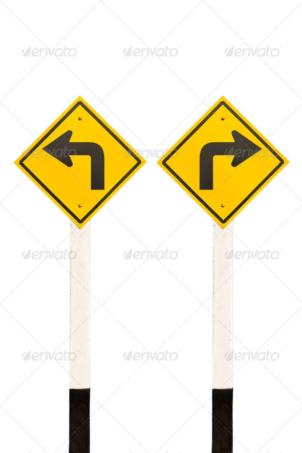 Left turn and right turn road signpost - Stock Photo - Images