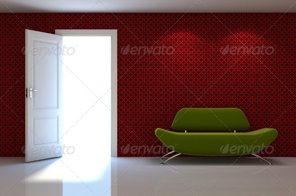 3d interior scene of a red couch on white classic wall - Stock Photo - Images