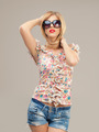 fashion portrait sexy woman sunglasses, shorts, posing - PhotoDune Item for Sale