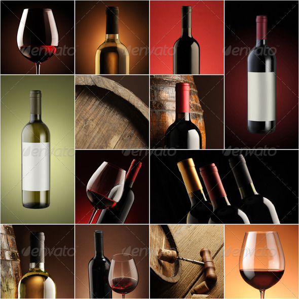 wine collage, beautiful collection of wine images - Stock Photo - Images