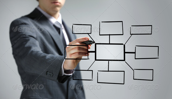 Hand of a Businessman drawing an empty diagram - Stock Photo - Images