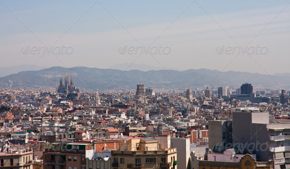Panoramic view of Barcelona city, Spain. - Stock Photo - Images