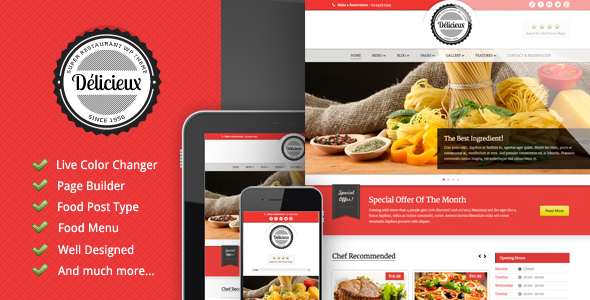 Delicieux - Restaurant WordPress Theme - Food Retail