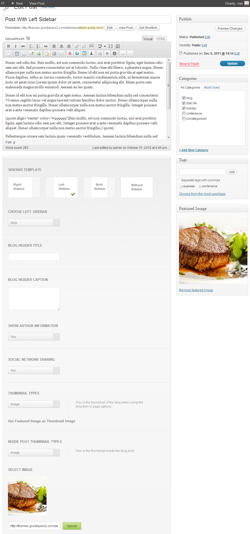 Delicieux - Restaurant Wordpress Theme - adminpanel